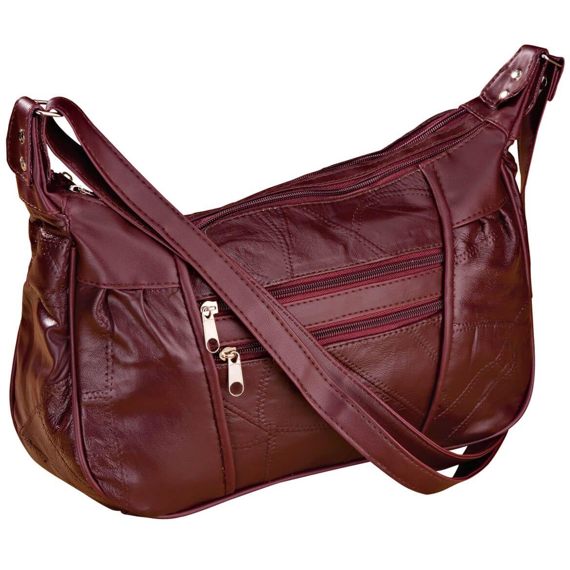 Burgundy Leather Handbag-339981