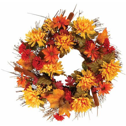 "18"" Fall Mum Wreath by OakRidge™-342425"