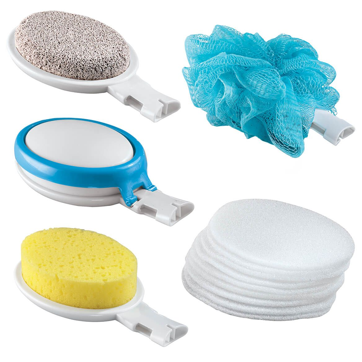 15 Piece Interchangeable Bath Sponges With Handle-342514