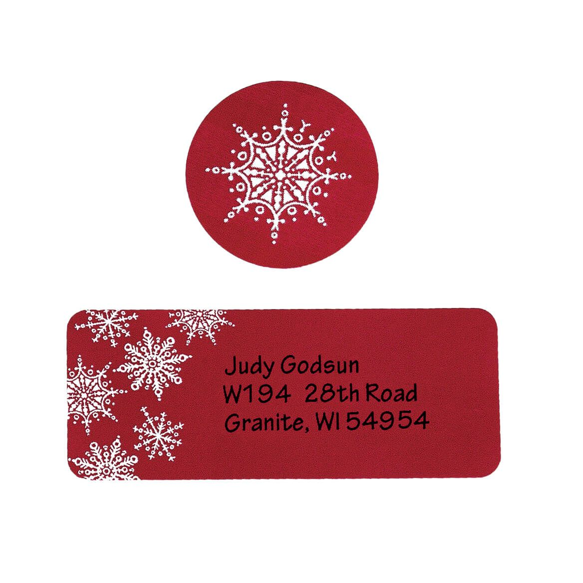 Large Print Red Snowflake Label and Envelope Seals - Sets of 250-346826