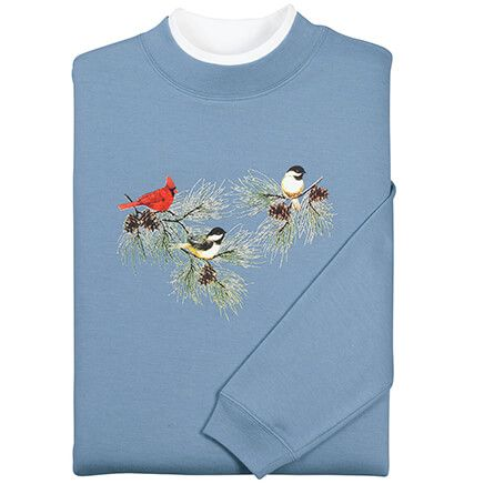 Chickadees and Cardinal Sweatshirt by Sawyer Creek-348968