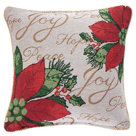 Holiday Needlepoint Poinsettia Pillow Cover-349236