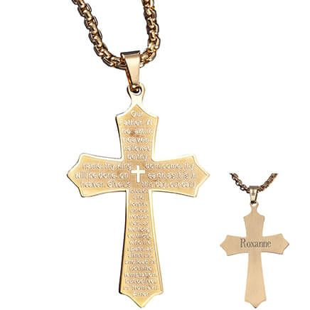 Personalized Lord's Prayer Cross Necklace-353558