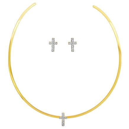 CZ Cross Earring and Collar Necklace Set          VR-354123