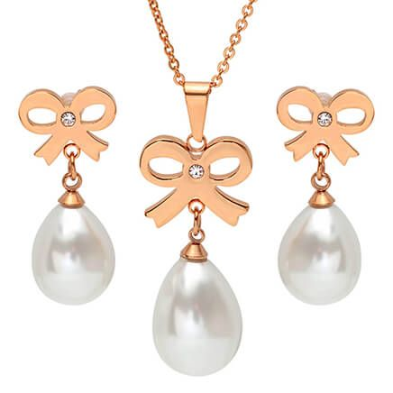 Faux Pearl Bow Earring and Necklace Set          VR-354130