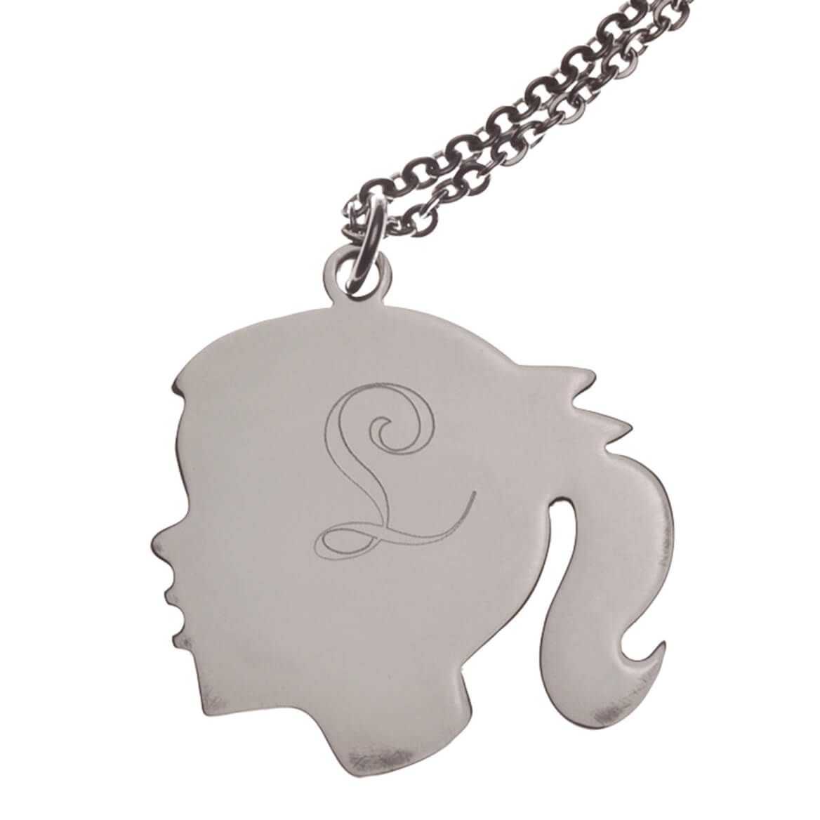 Personalized Silhouette Girl Necklace-354544