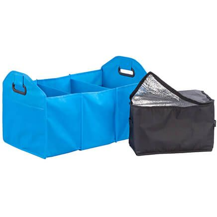 Turquoise Collapsible Trunk Organizer with Cooler-355071