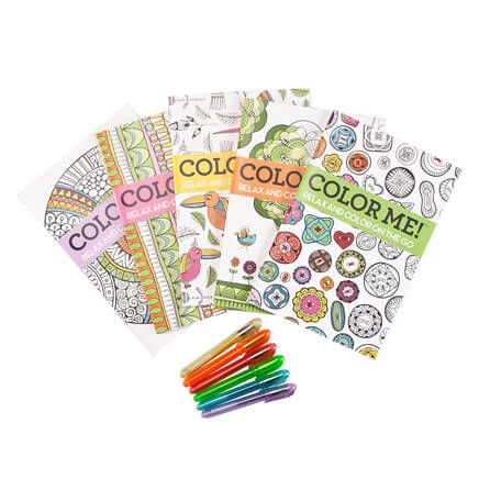 Adult Mini Coloring Books, Set of 5 with Gel Pens-355518