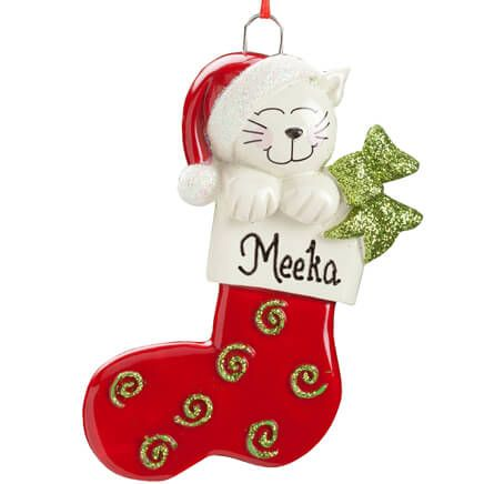 Personalized Happy Cat Stocking Ornament-355732