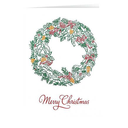Personalized Christmas Wreath Christmas Card Set of 20-356005