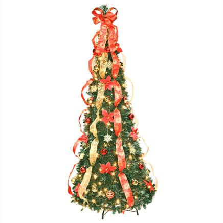 6 ft Fully Decorated Prelit Poinsettia Tree by Holiday Peak™-356297