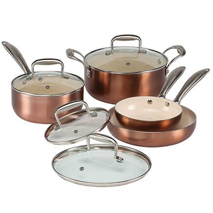 8 Piece Copper Cookware Set by The Home Marketplace-356733