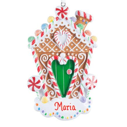 Personalized Glitter Gingerbread House Ornament-357194