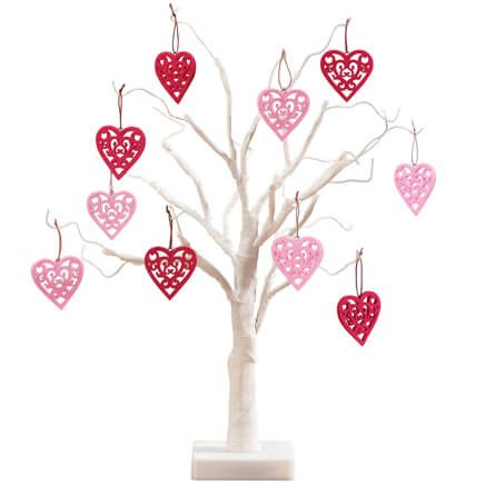 "White Wire 18"" Tree with Valentine's Hanging Ornaments-358084"