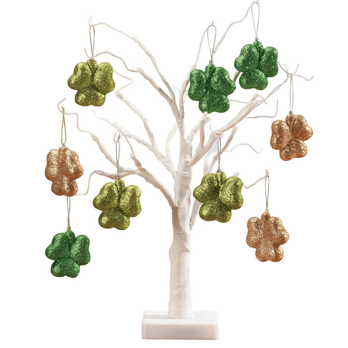 """White Wire 18"""" Tree with Shamrock Hanging Ornaments-358085"""