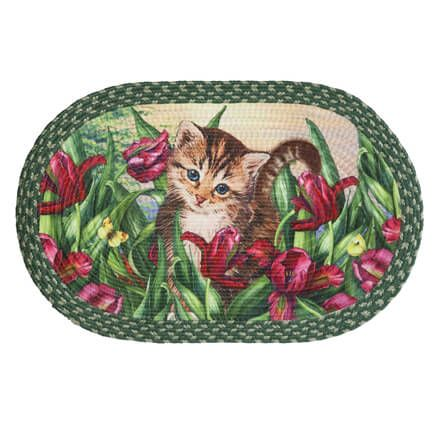 Kitten in Flowers Braided Rug by OakRidge™-359241