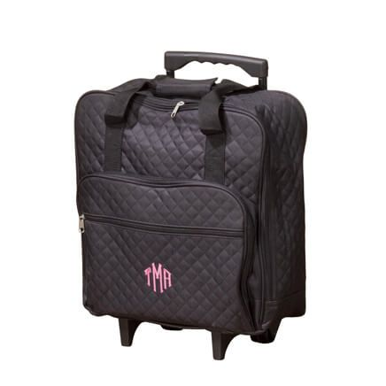 Personalized Black Quilted Rolling Tote-359333