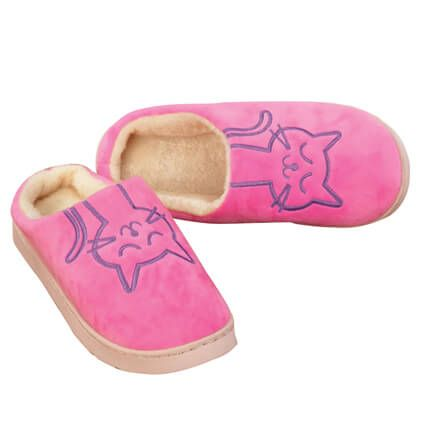 Embroidered Cat Slippers-359600