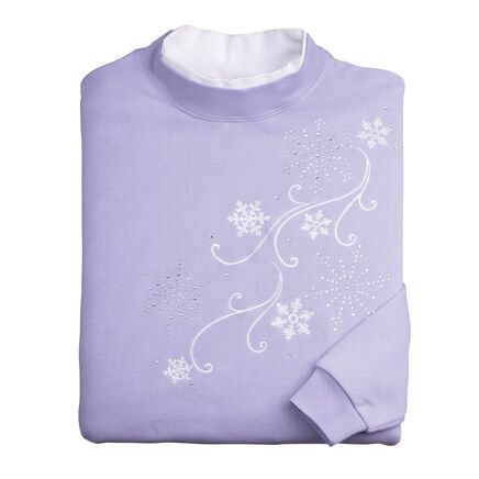 Embroidered Cascading Snowflakes Sweatshirt-359981