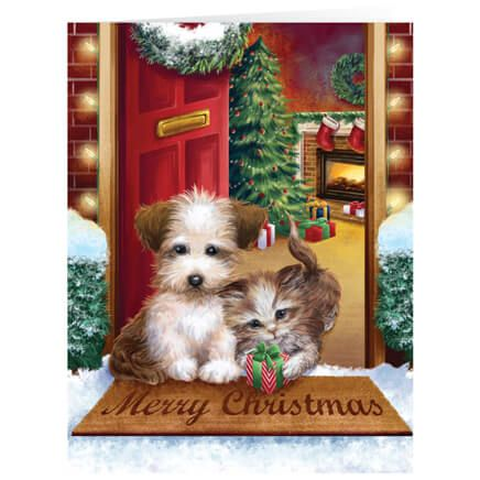 Personalized Puppy and Kitten Christmas Card Set of 20-360159