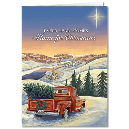 Personalized Hearts Come Home for Christmas Card Set of 20-360207