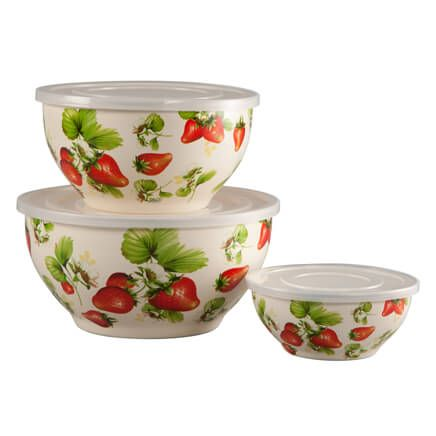 Metal Nested Strawberry Mixing Bowls with Lids, Set of 6-360239