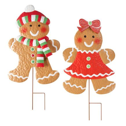 Gingerbread Girl & Boy Stakes Set of 2 by Fox River Creation-360324