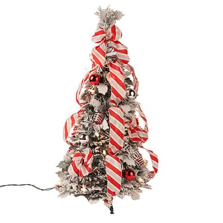 2-Ft. Snow Frosted Candy Cane Pull-Up Tree by Holiday Peak™-360381