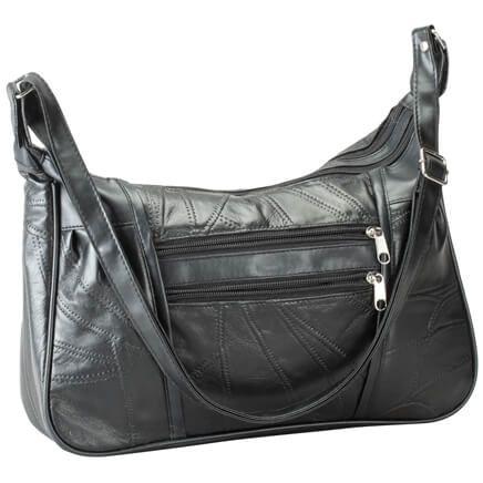 Black Patch Leather Handbag-360532