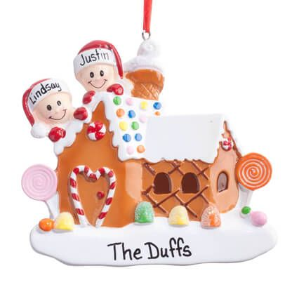 Table Top Personalized Gingerbread Family of 6 Christmas Ornament Holiday Gift