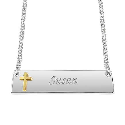 Personalized Horizontal Bar Necklace with Cross-361841