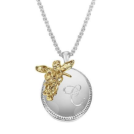 Personalized Oval Pendant with Angel Accent-362272
