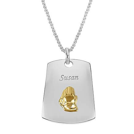 Personalized Praying Hands Dog Tag Necklace-362281