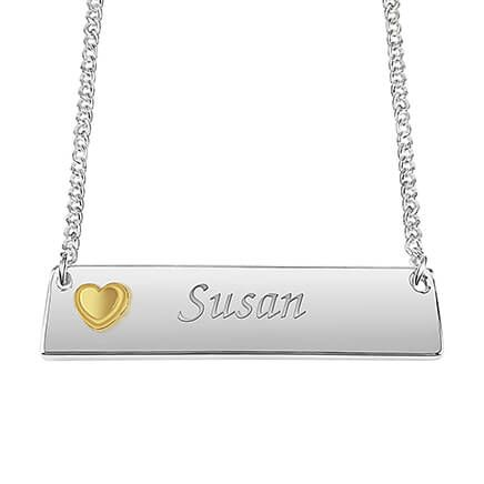 Personalized Horizontal Bar Necklace with Heart-362305