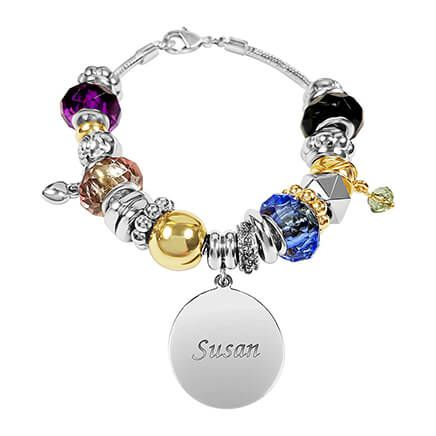 Personalized Two-Tone Multi Color Charm Bracelet-362306