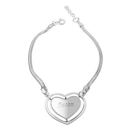 Personalized Sterling Silver Heart Bracelet-362359