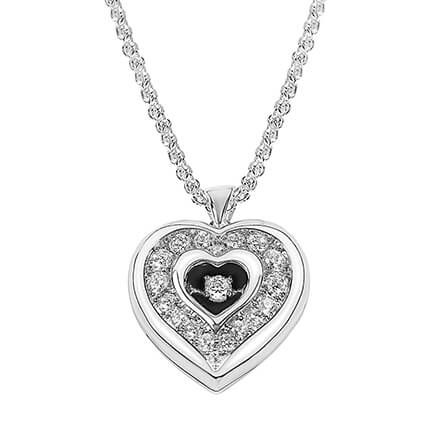 Personalized Heart Locket with Floating Stone-362399