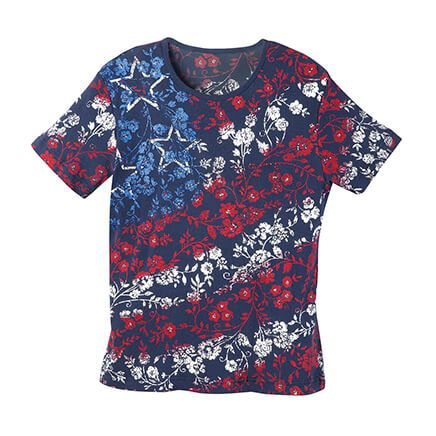 Red, White & Blue Floral T Shirt-363093