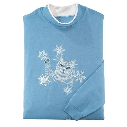 Kitten With Snowflakes Sweatshirt by Sawyer Creek Studio™-363202