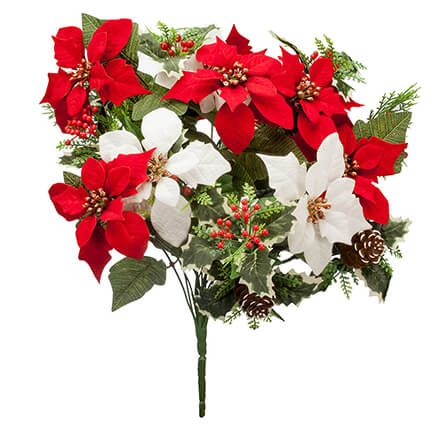 "21"" Poinsettia & Pinecone Bush by OakRidge™-363451"