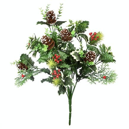 """18"""" Holly Leaves & Pinecone Bush by Oakridge Outdoor™-363452"""