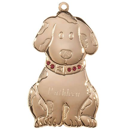 Personalized Brass Birthstone Dog Ornament-363529