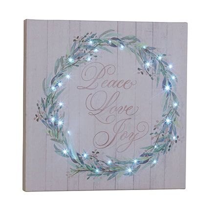 Peace Love and Joy Lighted Canvas by Holiday Peak™-364122