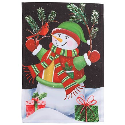 Snowman & Cardinal Garden Flag-364600