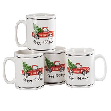 William Roberts Holiday Truck Mugs, Set of 4-364648