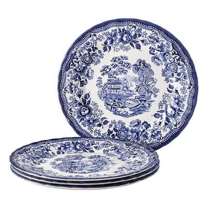 "Tonquin Blue 10"" Dinner Plates, Set of 4-364705"