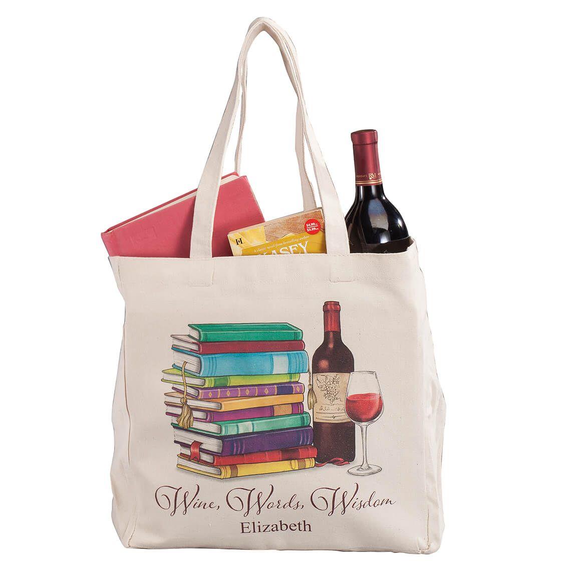 Personalized Wine, Words, Wisdom Book Club Tote-365145