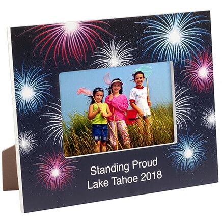 Personalized Fanciful Fireworks Textured Photo Frame-365632