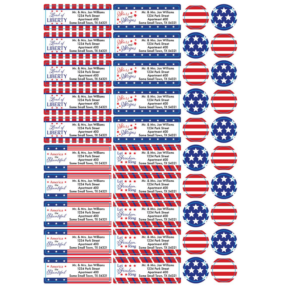 Personalized Stars and Stripes Labels & Envelope Seals Set of 60-366171