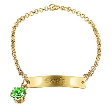 Personalized Ladies ID Bracelet with Birthstone Charm-366411